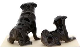 Hagen-Renaker Miniature Ceramic Dog Figurine Pug Black Mama Sitting and Baby Pup image 2