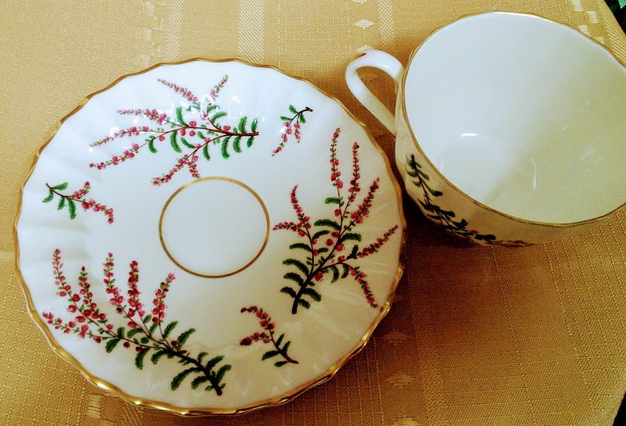 Royal Worcester Made in England Dunrobin Bone China Flat cup and Saucer