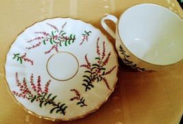 Royal Worcester Made in England Dunrobin Bone China Flat cup and Saucer  - $24.00