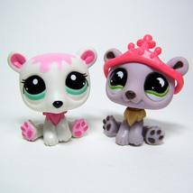 Littlest Pet Shop # 833 & 2298 POLAR BEARS Purple Lavender, White and Pink - $12.50