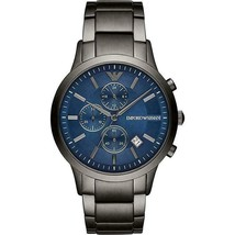 Emporio Armani AR11215 Blue Dial Stainless Steel Chronograph Men's Watch + Bag - $137.73
