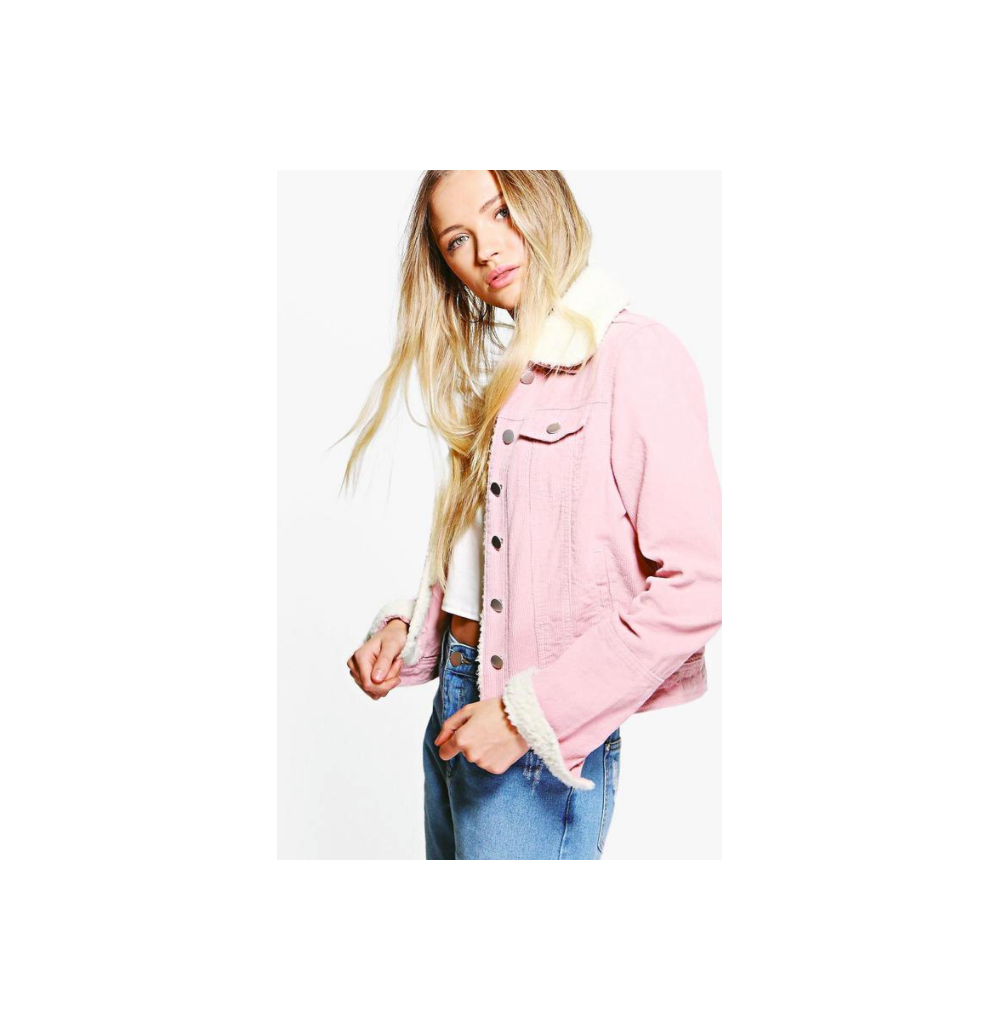 Women Boohoo Sally Slim Fit Borg Collar Cord Crop Length Jacket Baby Pink  4