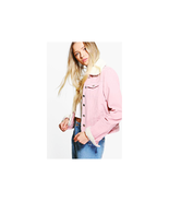 Women Boohoo Sally Slim Fit Borg Collar Cord Crop Length Jacket Baby Pin... - $39.59