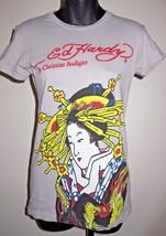 Jr Sz S Geisha Girl Don Ed Hardy Designs Christian Audigier Gray Cotton ... - $19.79