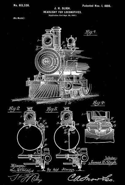 Primary image for 1898 - Headlight for Locomotives - J. H. Sligh - Patent Art Poster