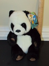 """Small Giant Panda plush brown suede feet foot pads K&M toys 1993 w/ tags 7.5"""" image 2"""
