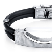 Stainless Steel & Black Silicon Bracelet image 2