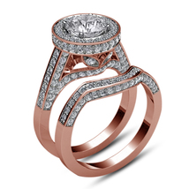 Halo Round Cut Diamond 14k Rose Gold Over 925 Silver Bridal Engagement R... - $106.88