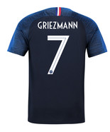 France Home 2 Star 7 GRIEZMANN World Cup 2018 Men Soccer Jersey Football... - $36.99