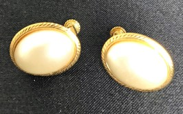 "Vintage Napier Leverback Screw Clip-On Earrings Pearlesque 7/8"" x 5/8"" - $14.01"
