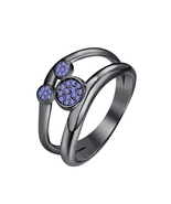 Round Cut Tanzanite 14k Black Gold Over .925 Silver Cute Mickey Mouse Ring - $69.35