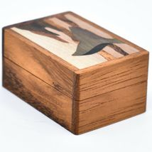 Northwoods Wooden Parquetry Nautical Ocean Marine Whale Tail Mini Trinket Box image 4
