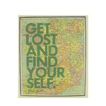 "Midwest 12"" ""Get Lost And Find Your Self"" Colorful Framed Map Hanging Wa... - $21.77"