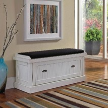 Entry White Shoe Storage Bench Cabinet Distressed Suede Cushion Cottage ... - £296.58 GBP