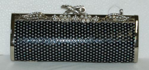 IN'S ® Black Silver Clutch Purse Optional Chain 435236-910