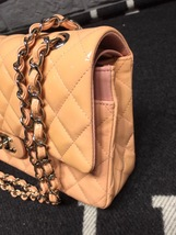 AUTHENTIC Chanel Pink Quilted Patent Leather Medium Double Flap Bag SHW image 9