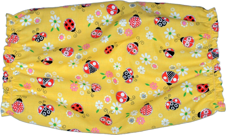 Yellow Red Ladybugs Sparkle Cotton Dog Snood by Howlin Hounds Size XL