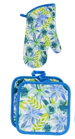 SPRING Design KITCHEN SET 6pc Dish Towels Potholders Oven Mitt Blue Flower Enjoy