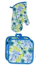 FLORAL Design KITCHEN SET 6pc Dish Towels Potholders Oven Mitt Blue Flower Enjoy image 4