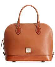 Dooney & Bourke Women's Pebble Zip Zip Satchel Caramel w/ Tan Trim - $262.64