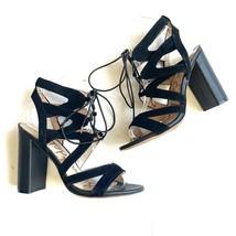 Sam Edelman Yardley Strappy Heeled Sandals Lace Up Black Size 7 - $24.96
