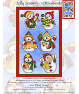 Jolly Snowman Ornaments JE243 christmas cross stitch chart Joan Elliott ... - $14.00