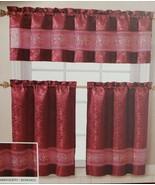 "3pc. Embroidery Curtains Set:2 Tiers 28""x36"" & Valance(57""x18"") ARIEL FL... - $24.74"