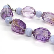 SILVER 925 NECKLACE, FLUORITE OVAL FACETED PURPLE, SPHERES CHALCEDONY image 4