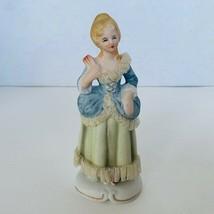 Victorian Fan lady Lace art Antique Porcelain Figurine vtg gift decor sc... - $19.25