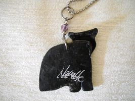 NWOT FUSED PLASTIC CAT PENDANT ON SILVER TONE CHAIN, SIGNED BY ARTIST image 3