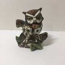 "Vintage Ardco Japan Porcelain Great Horned Owl on Stump Figurine 4.25"" - $12.59"