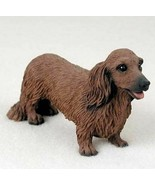 DACHSHUND (RED LONG HAIR) DOG Figurine Statue Hand Painted Resin Gift Pe... - $19.99