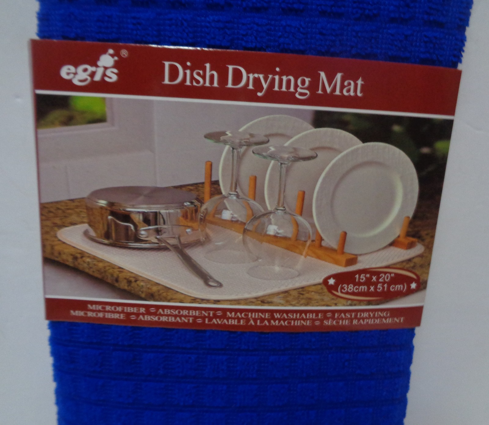 """Dish Drying Mat Microfiber Absorbent Machine Washable Fast Drying Blue NWT 15"""""""