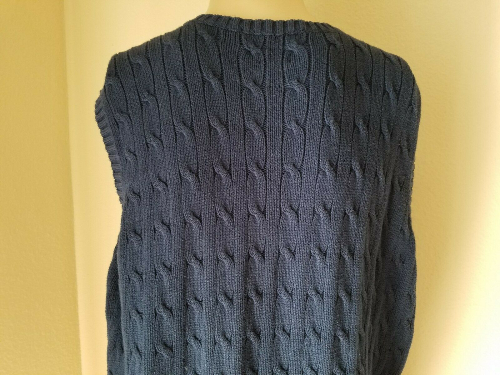 Polo Golf Ralph Lauren Men's Sweater Vest Cable Knit Pullover Navy Blue Logo XXL