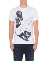 NEW MENS DIESEL SCULL & PANTHER GRAPHIC WHITE T SHIRT TEE M - $34.64