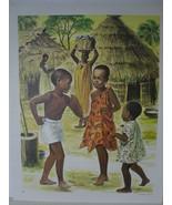 African Women and Children near Round Huts - Art Print - David C. Cook C... - $10.24