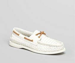 RARE WOMENS SPERRY TOP SIDER BOAT SHOES LOAFER - Woven White Leather 8.5 - $33.66