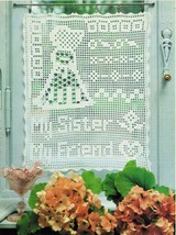 My Sister Curtain Christmas Angel Pillowtop Memento Tulips Doily Crochet... - $6.99