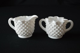 Fenton Milk Glass Hobnail Star Sugar & Creamer # 3917 MI - $9.90