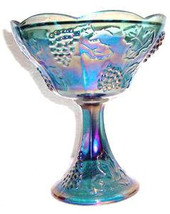Vintage Indiana Glass Blue/Purple Carnival Iridescent Color Grape & Fruit Bowl C - $55.99