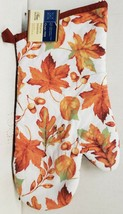 "Printed Kitchen 13"" Large Oven Mitt, FALL LEAVES & ACORNS, brown back, GR - $7.91"