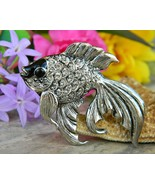 Vintage Fish Beta Goldfish Fancy Tail Brooch Pin Silver Enamel Figural - $18.95