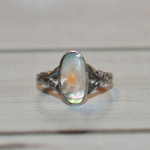 Vintage Antique blister pearl ring 925 sterling silver size 5 - $69.29