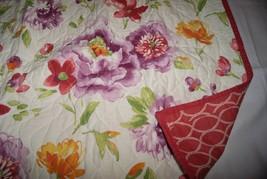 Martha Stewart Collection LENORA Standard Quilted Pillow Sham White, Floral,Pink - $17.10