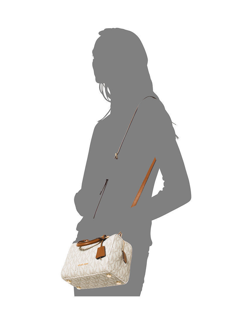 fc908b2ede8d Michael Kors Kirby Mini Satchel Boston Crossbody Logo Signature Vanilla