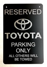 "TOYOTA Logo Parking Sign Diamond Etched on 12"" X 18"" Aluminum Matte Black  - $39.99"