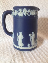 "Wedgwood Jasperware ""England"" cobalt blue cream pitcher 3 7/8"" classical... - $24.74"