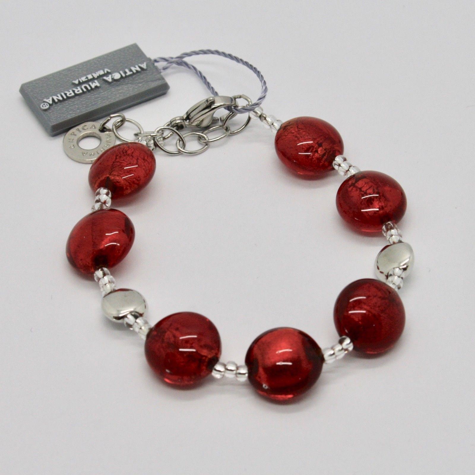 BRACELET ANTICA MURRINA VENEZIA WITH MURANO GLASS RED SILVER BR297A31