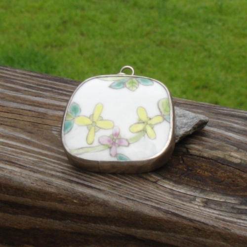 Vintage Hand Painted Chinese Pottery Shard Pendant, Qing Dynasty Sterling Silver