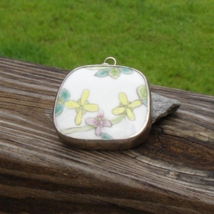 Hand painted porcelain pottery shard pendant qing dynasty china sterling silver2 thumb200